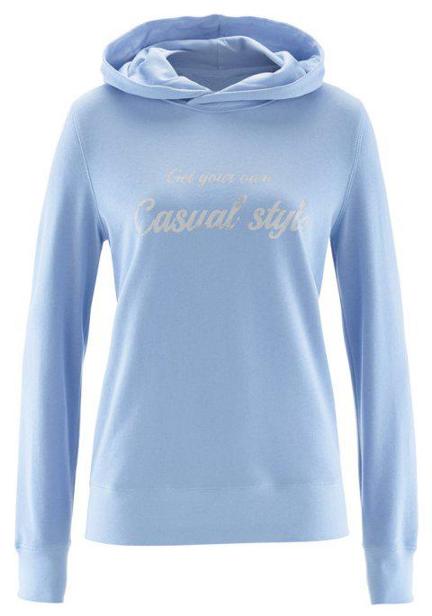 Women's Solid Color Long Sleeve Letters Print Casual Sweatshirt Hoodies Tops - DAY SKY BLUE XL