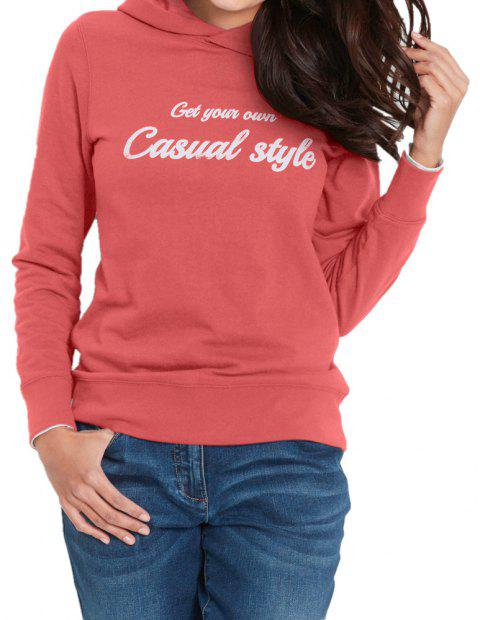 Women's Solid Color Long Sleeve Letters Print Casual Sweatshirt Hoodies Tops - BEAN RED S