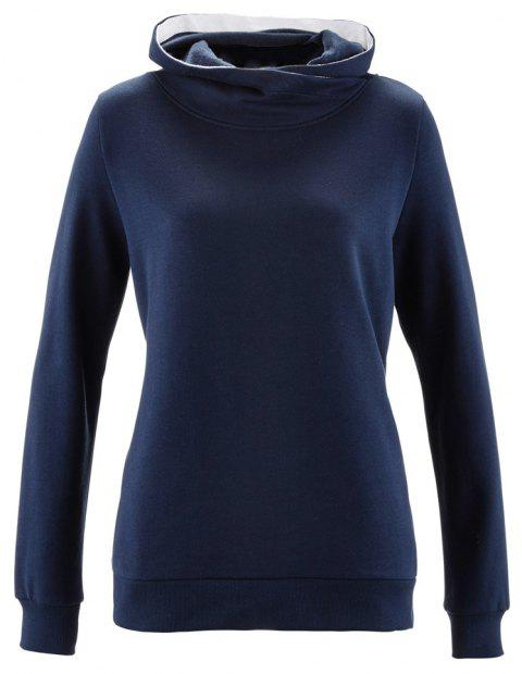 Women's Solid Color Long Sleeve Hooded Pullover Sweatshirt Tops - CADETBLUE L