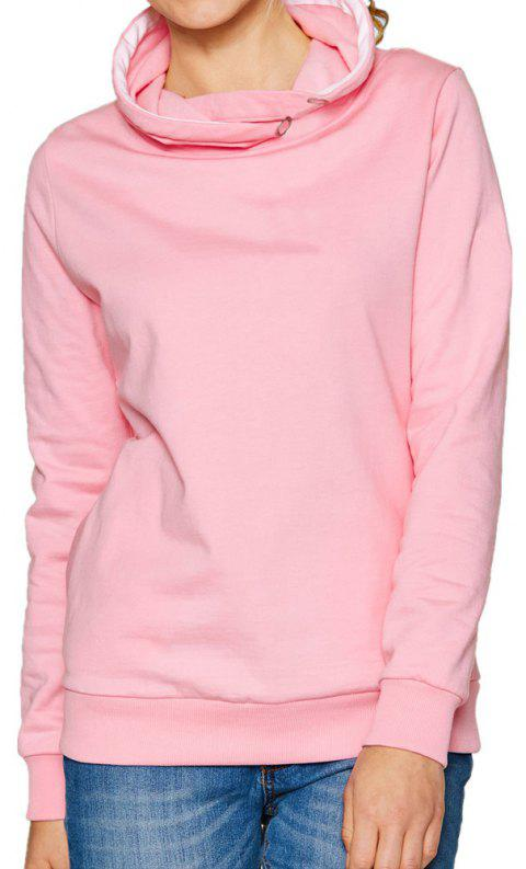 Women's Solid Color Long Sleeve Hooded Pullover Sweatshirt Tops - PINK M