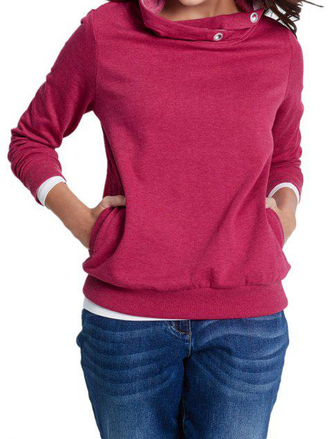 Women's Solid Color Long Sleeve Hooded Pullover Sweatshirt Tops - ROSE RED S