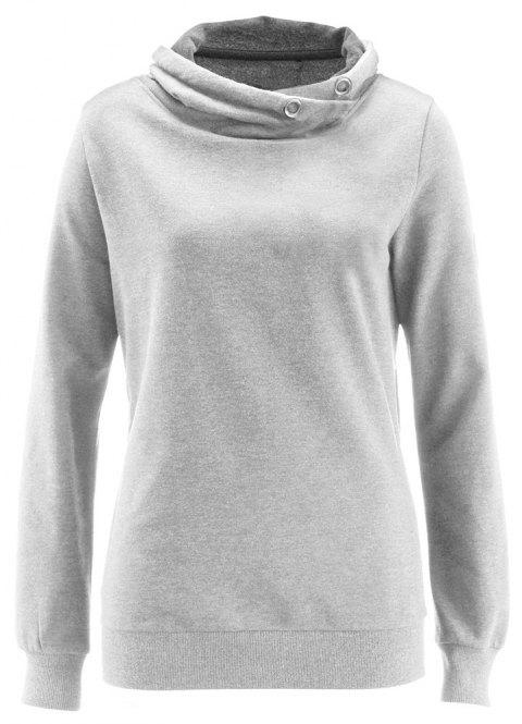 Women's Solid Color Long Sleeve Hooded Pullover Sweatshirt Tops - LIGHT GRAY M