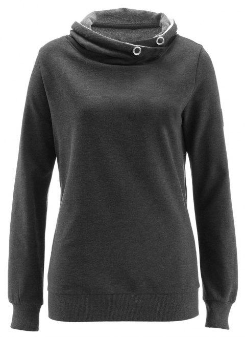 Women's Solid Color Long Sleeve Hooded Pullover Sweatshirt Tops - DARK GRAY L