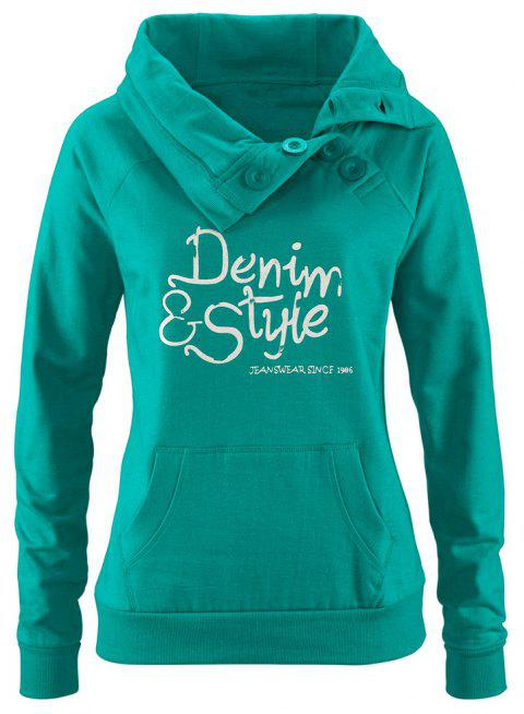 Women's Long Sleeve Buttons Turn Down Collar Pockets Pullover Sweatshirt - DARK TURQUOISE 2XL