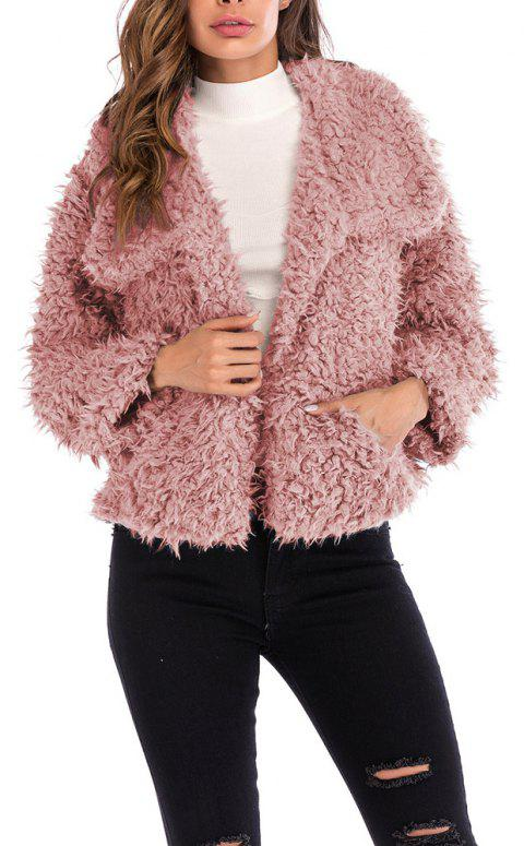 Women's Solid Color Fashion Short Plush Coat Tops - PINK S