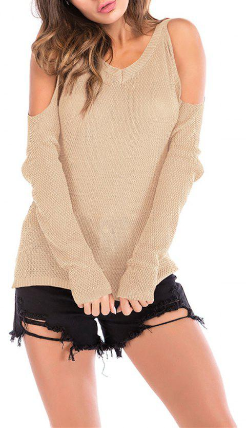 Women's Wild Off the Shouder Solid Color Pullover Knitwear Long Sleeve Sweater - BEIGE XL