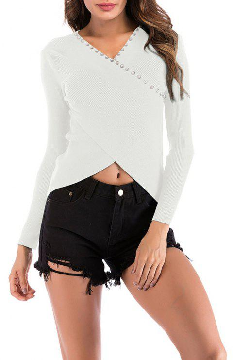 Women's Solid Color Long Sleeve Cross V-neck Beads Knitted Bottom Sweatshirt Top - WHITE L