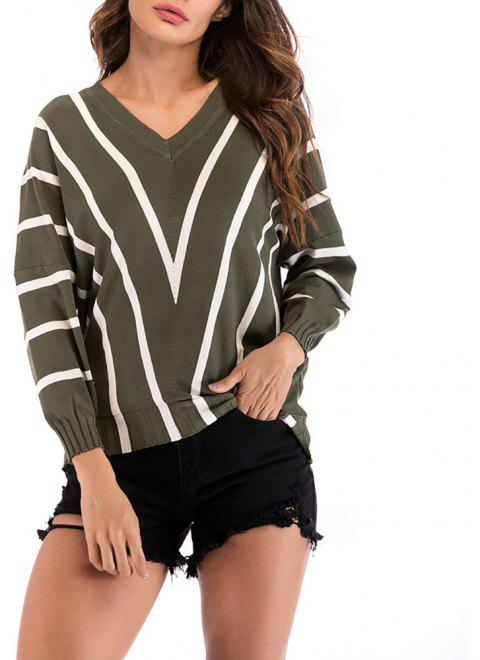 Women's V-neck Long Sleeve Stripes Patchwork Bottom Knitwear Sweatershirt Tops - ARMY GREEN M