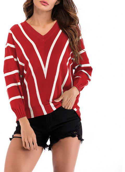 Women's V-neck Long Sleeve Stripes Patchwork Bottom Knitwear Sweatershirt Tops - RED XL