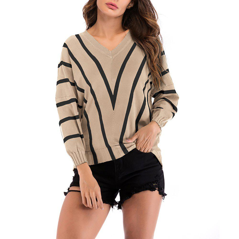 Women's V-neck Long Sleeve Stripes Patchwork Bottom Knitwear Sweatershirt Tops - LIGHT KHAKI L