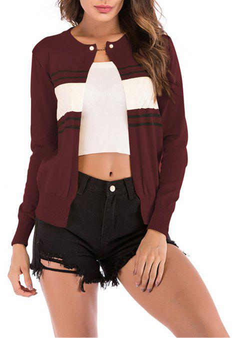 Women's Color Block Stripes One Button Knitted Small Jacket Coat Sweaters - RED WINE M