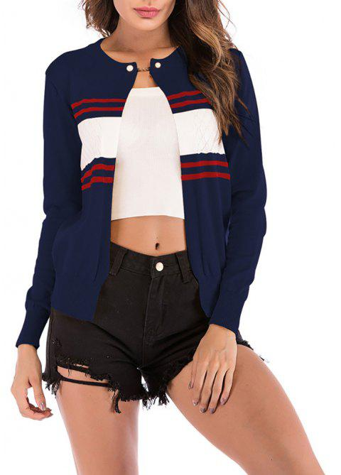 Women's Color Block Stripes One Button Knitted Small Jacket Coat Sweaters - DEEP BLUE L
