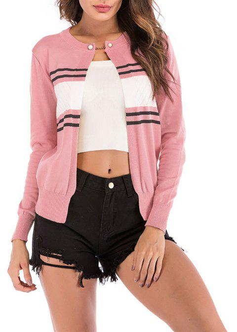 Women's Color Block Stripes One Button Knitted Small Jacket Coat Sweaters - PINK L