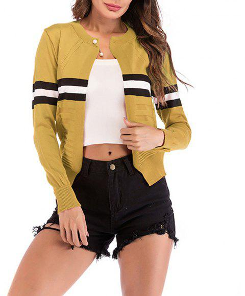 Women's Long Sleeve Beads Color Block Stripes Knitwear Cardigan Sweaters Tops - GOLDENROD L