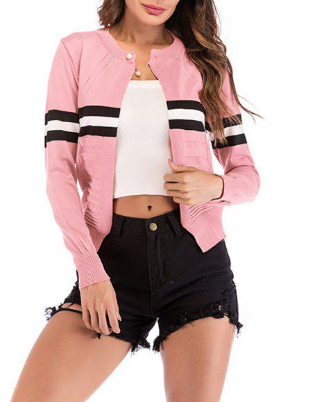 Women's Long Sleeve Beads Color Block Stripes Knitwear Cardigan Sweaters Tops - PINK M