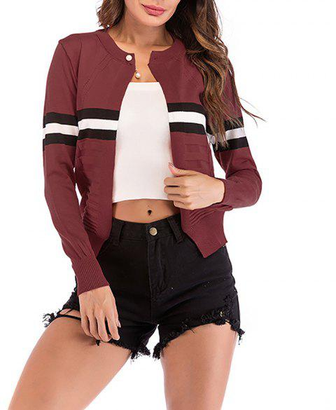Women's Long Sleeve Beads Color Block Stripes Knitwear Cardigan Sweaters Tops - RED WINE L