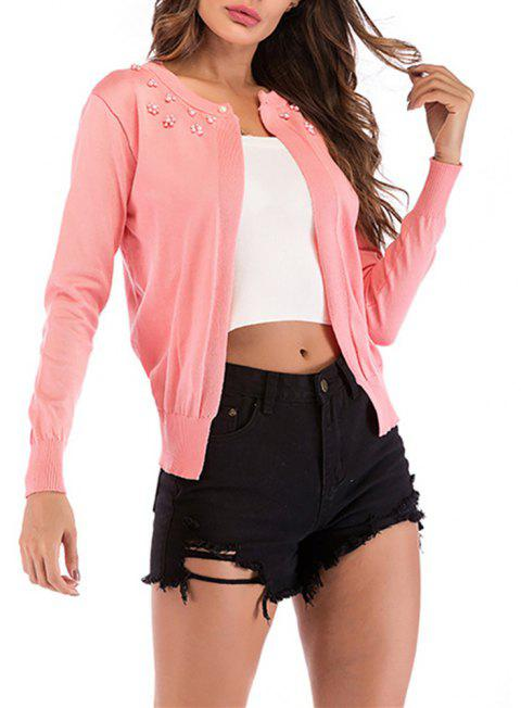 Women's Solid Color Long Sleeve Beads Florals Decorated Knitted Cardigan Sweater - PINK M