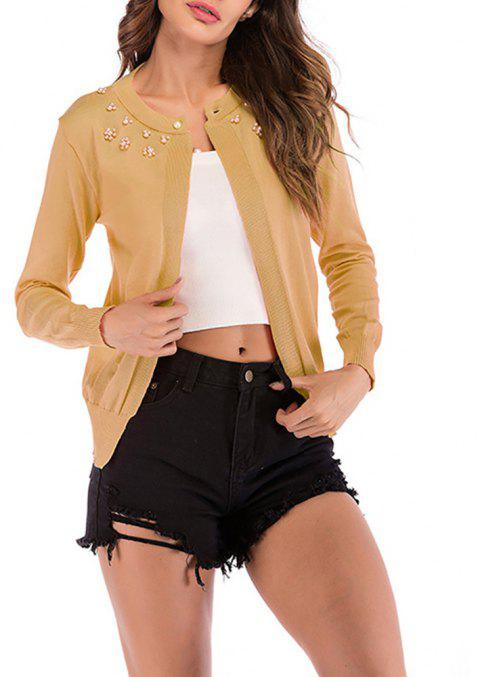 Women's Solid Color Long Sleeve Beads Florals Decorated Knitted Cardigan Sweater - GOLDENROD L