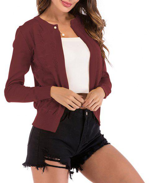Women's Hollow out Patterns Long Sleeve Knitwear Cardigan Sweatershirt - RED WINE L