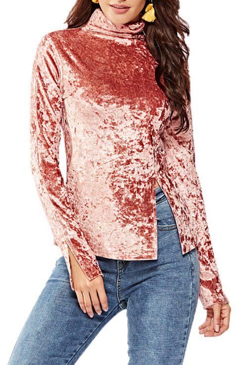 Women's Solid Color Long Sleeve Velour Split Turtleneck Bottom T-shirt Tops - PINK S