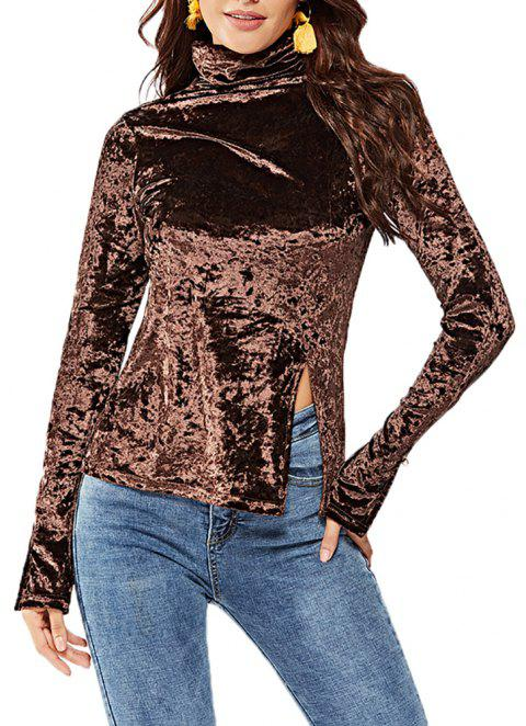Women's Solid Color Long Sleeve Velour Split Turtleneck Bottom T-shirt Tops - COFFEE M