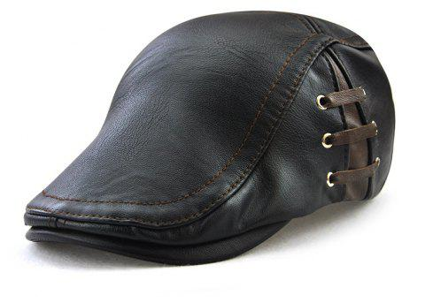 JAMONT Men's Personalized Perforated Strap Designed Out of Joker Beret - BLACK