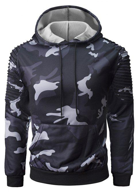 Men's Personality Folds Raglan Sleeves Camouflage Fashion Casual Pullover Sweate - BLACK L