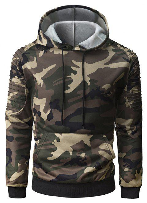 Men's Personality Folds Raglan Sleeves Camouflage Fashion Casual Pullover Sweate - ORANGE GOLD XL