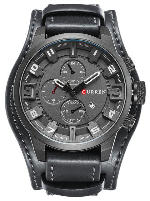 CURREN Men's Casual Quartz Leather Mechanical Pointer Multifunction Watch - GRAY