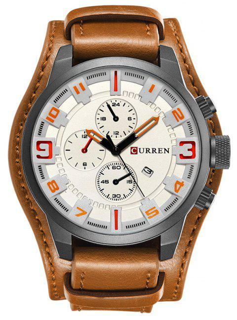 CURREN Men's Casual Quartz Leather Mechanical Pointer Multifunction Watch - WHITE