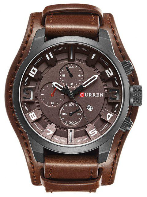 CURREN Men's Casual Quartz Leather Mechanical Pointer Multifunction Watch - COFFEE