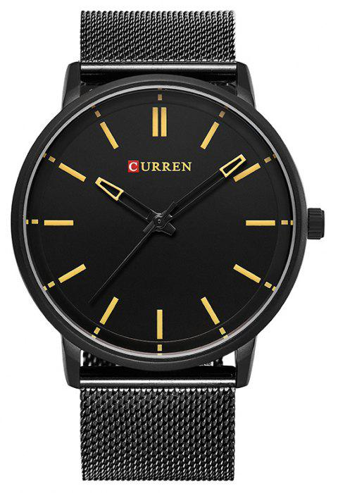 CURREN Men's Steel Belt Business Fashion Simple Milan with Quartz Watch - BLACK