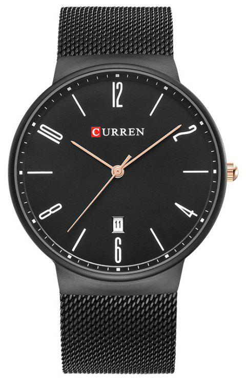 CURREN Men's Slim Calendar Watch Casual Net with Watch - BLACK