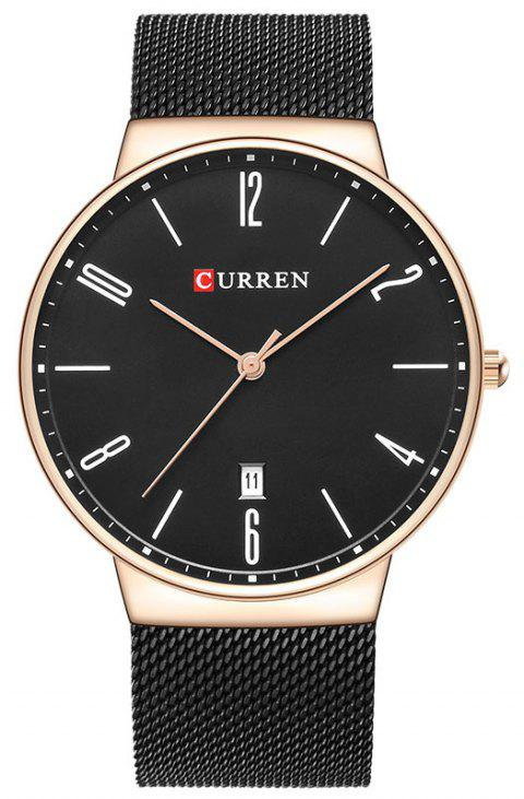CURREN Men's Slim Calendar Watch Casual Net with Watch - CHAMPAGNE GOLD