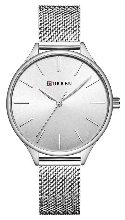 CURREN Women's Net with Casual Fashion Slim Quartz Watch - SILVER