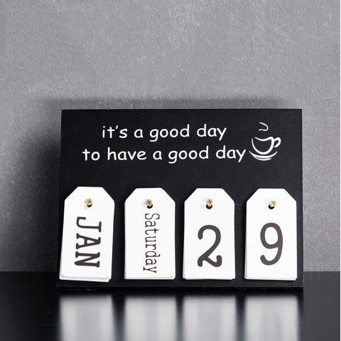 Creative Home Wooden Calendar Decoration Can Be Used As Photography Prop - multicolor B 28*2*21CM