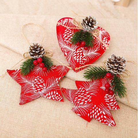 3 Pieces Christmas The Cloth Art Simulation Red Fruit Pine Fruit Hang Decoration - multicolor A 13*13*18CM