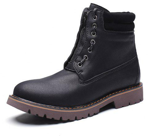 Men'S Leather Wear-Resistant Tooling Boots - JET BLACK EU 42