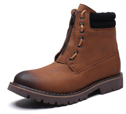 Men'S Leather Wear-Resistant Tooling Boots - BROWN EU 45