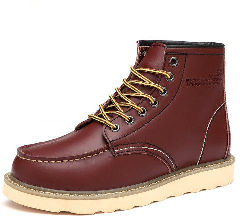 Men'S Warm and Wearable Tooling Boots - RED WINE EU 45
