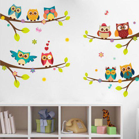 Animal on Branches PVC Wall Sticker - multicolor