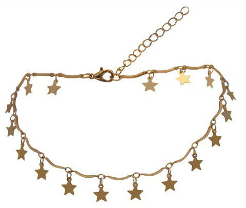 Five Pointed Star Decoration Solid Color Faddish Necklace - GOLD