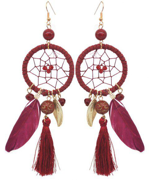 Hollow Out Circle Feather Tassel Pendant Beaded Trendy Earrings - RED WINE