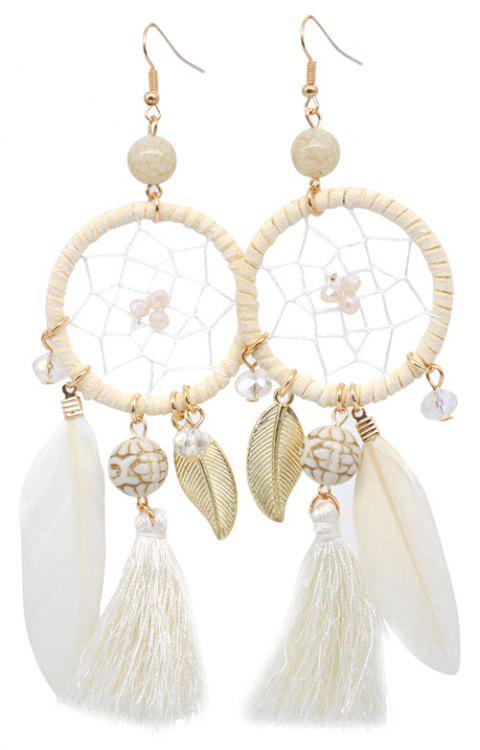 Hollow Out Circle Feather Tassel Pendant Beaded Trendy Earrings - WHITE