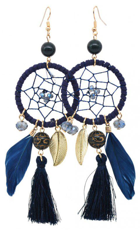 Hollow Out Circle Feather Tassel Pendant Beaded Trendy Earrings - BLUE