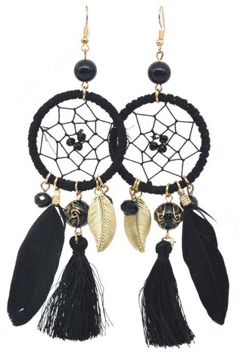 Hollow Out Circle Feather Tassel Pendant Beaded Trendy Earrings - BLACK