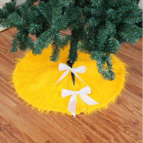 Green Yellow Plush Christmas Tree Skirts Fur Carpet - YELLOW 78*78CM