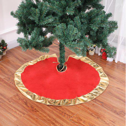 Red Christmas Tree Skirt with Golden Ruffle Edge New Year Decorations - RED 90*90CM