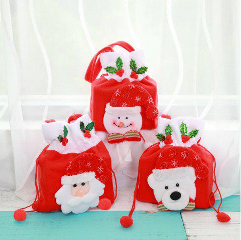 Chrismas Santa Claus Snowman Tree Kids Candy Gift Bags - RED 3PCS