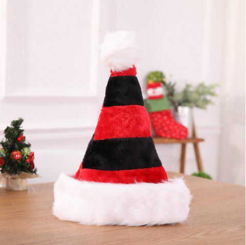 Black White Stripe Santa Hats Xmas Gifts Red Christmas Hats for Adult Children - BLACK 45*32CM